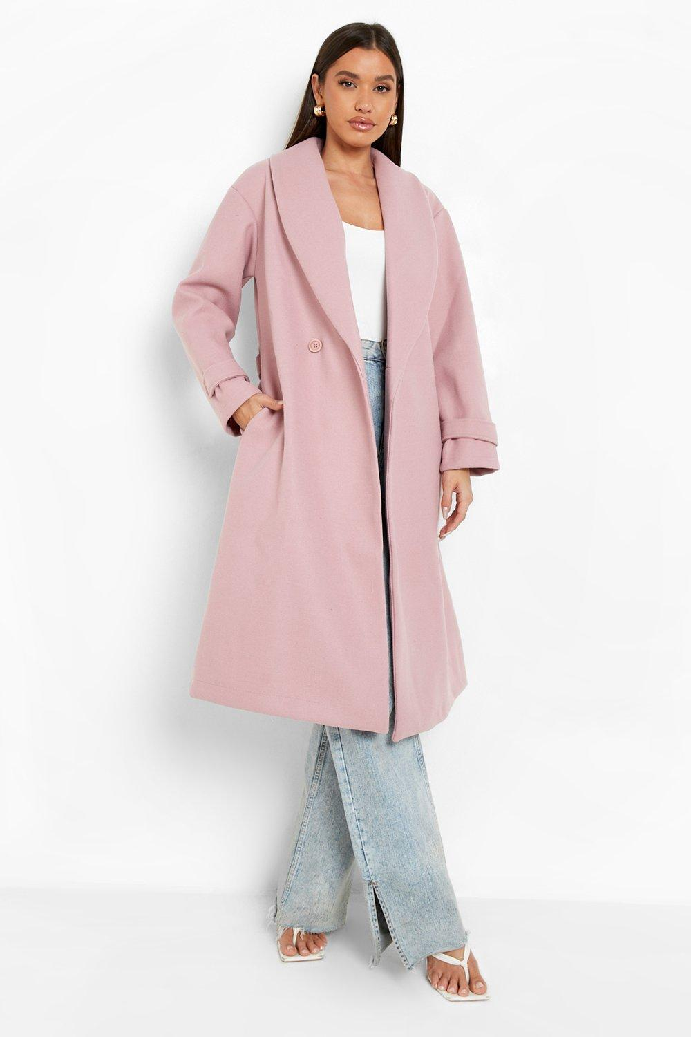 Vintage Coats & Jackets | Retro Coats and Jackets Womens Belted Wool Look Robe Coat - Pink - 12 $33.60 AT vintagedancer.com