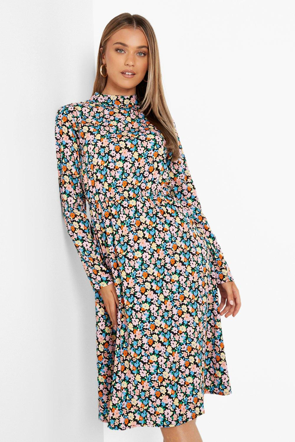 Pin Up Girl Costumes | Pin Up Costumes Womens Ditsy Floral High Neck Long Sleeve Midi Dress - Black - 14 $14.40 AT vintagedancer.com