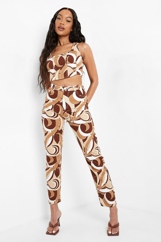 60s Pants, Jeans, Hippie, Flares, Jumpsuits Womens Abstract Printed Boyfriend Jeans - Beige - 12 $22.40 AT vintagedancer.com