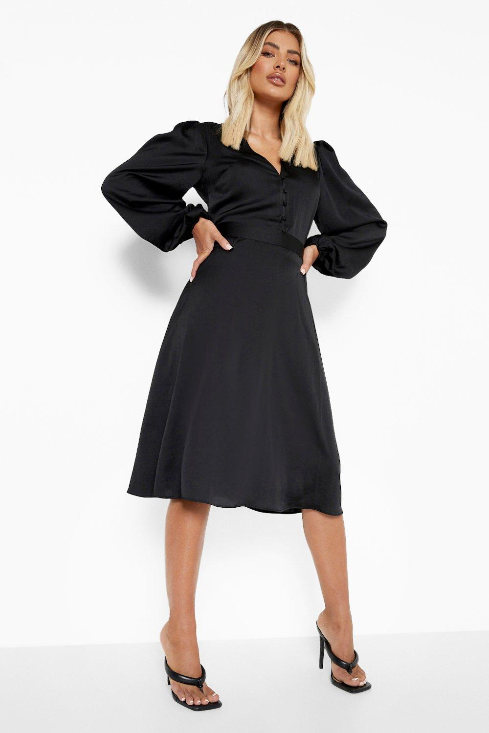 1980s Clothing, Fashion | 80s Style Clothes Womens Satin Puff Sleeve Button Detail Midi Dress - Black - 14 $24.00 AT vintagedancer.com