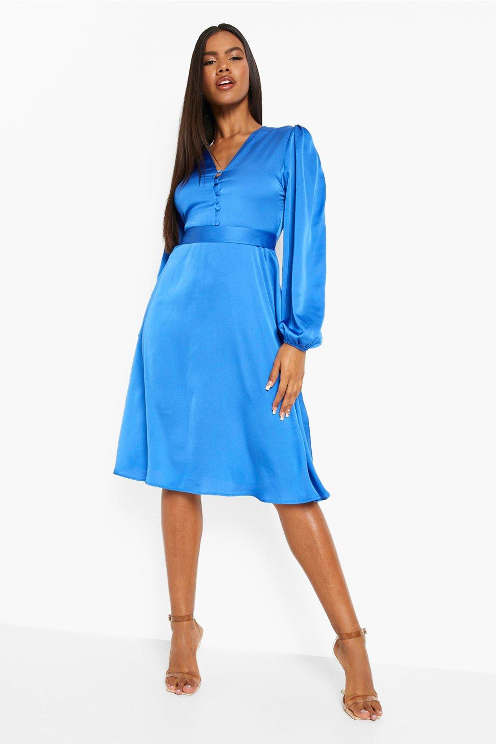 1980s Clothing, Fashion | 80s Style Clothes Womens Satin Puff Sleeve Button Detail Midi Dress - Blue - 14 $24.00 AT vintagedancer.com