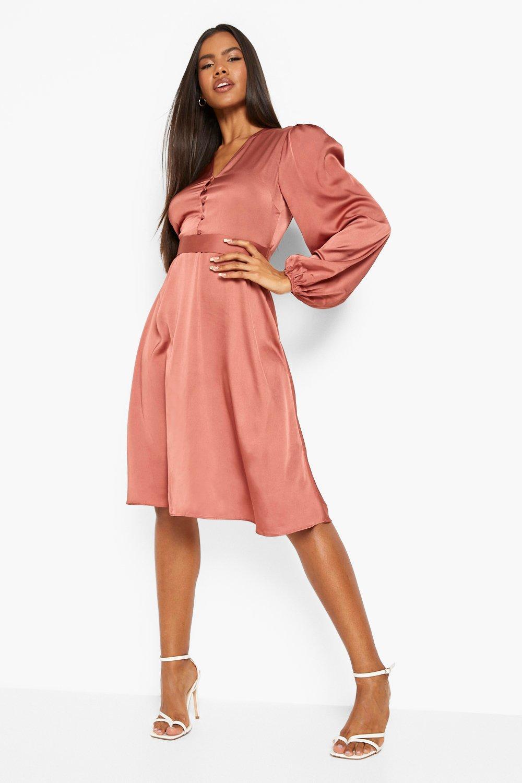 70s Sequin Dresses, Disco Dresses Womens Satin Puff Sleeve Button Detail Midi Dress - Beige - 14 $24.00 AT vintagedancer.com