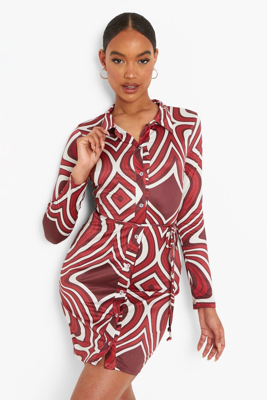 Vintage Style Dresses | Vintage Inspired Dresses Womens Marble Slinky Long Sleeve Shirt Dress - Red - 14 $16.00 AT vintagedancer.com