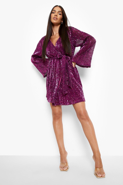 70s Dresses – Disco Dress, Hippie Dress, Wrap Dress Womens Sequin Flared Sleeve Belted Mini Dress - 14 $36.00 AT vintagedancer.com