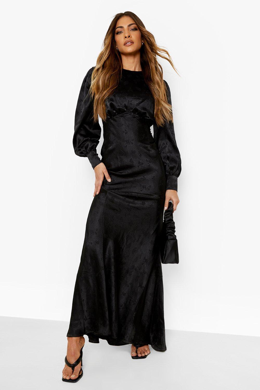 70s Sequin Dresses, Disco Dresses Womens Satin Jacquard Blouson Sleeve Maxi Dress - Black - 14 $100.00 AT vintagedancer.com