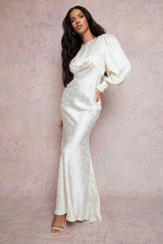 70s Clothes | Hippie Clothes & Outfits Womens Satin Jacquard Blouson Sleeve Maxi Dress - Beige - 14 $100.00 AT vintagedancer.com