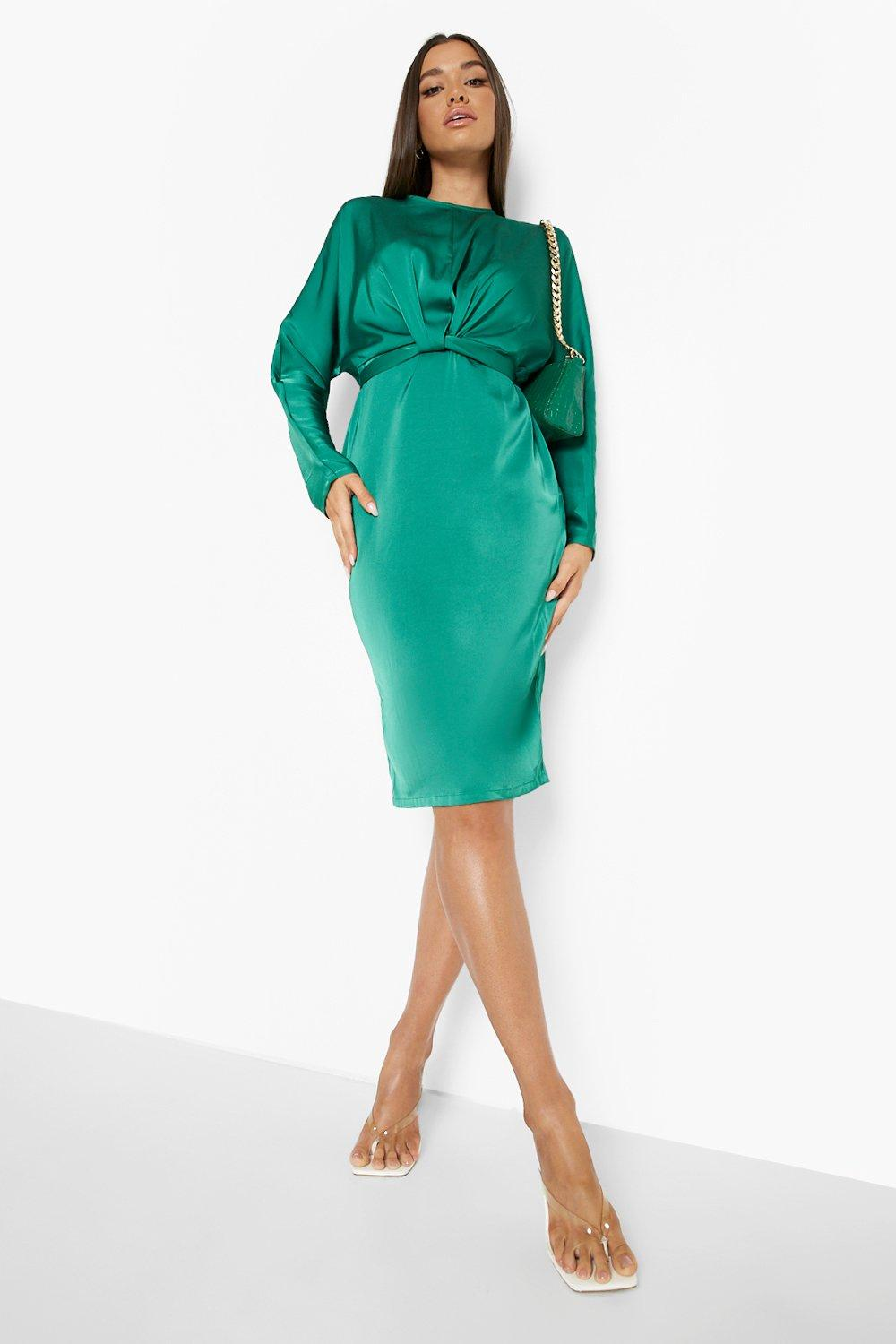 80s Dresses | Casual to Party Dresses Womens Satin Wrap Detail Tie Back Midi Dress - Green - 14 $28.00 AT vintagedancer.com