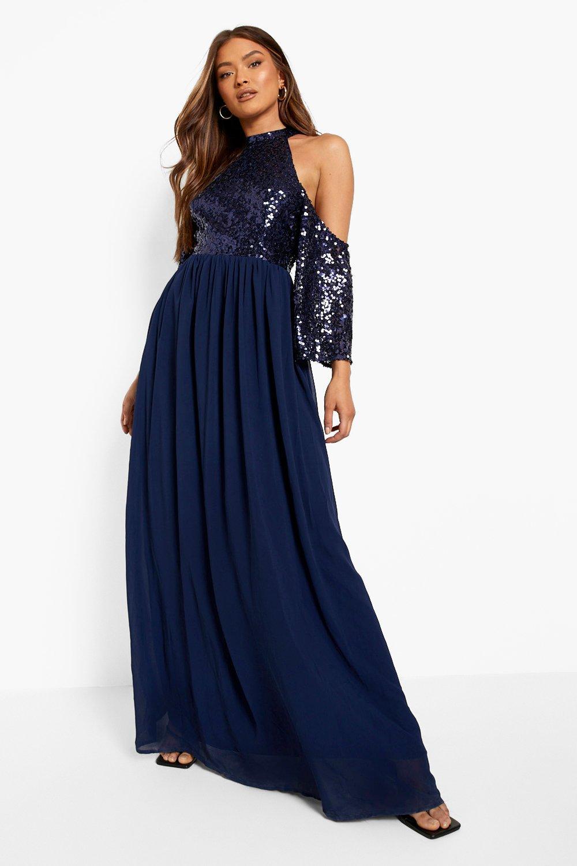 70s Sequin Dresses, Disco Dresses Womens Sequin Cold Shoulder Maxi Dress - Navy - 14 $36.00 AT vintagedancer.com