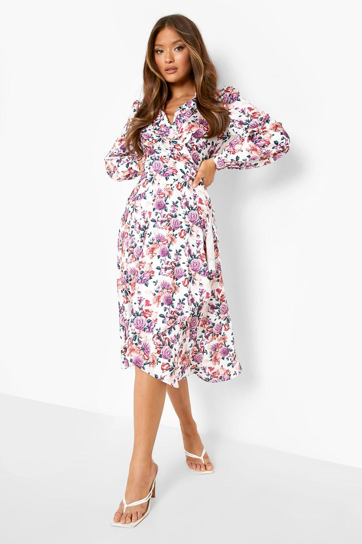 80s Dresses | Casual to Party Dresses Womens Floral Wrap Detail Midi Skater Dress - White - 14 $28.00 AT vintagedancer.com