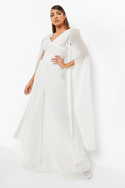 60s Wedding Dresses   70s Wedding Dresses Womens Cape Detail Plunge Wide Leg Jumpsuit - White - 12 $32.00 AT vintagedancer.com