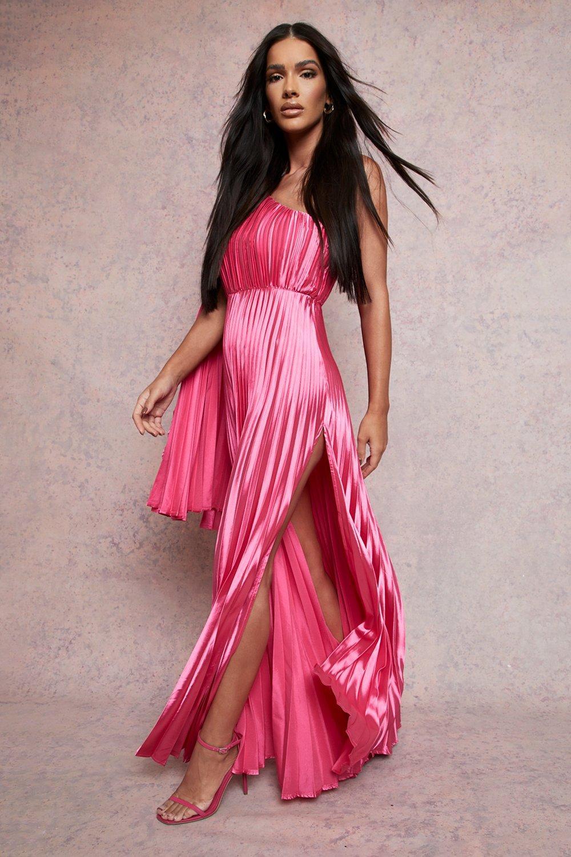 70s Sequin Dresses, Disco Dresses Womens Cape Detail Satin Pleated Maxi Dress - Pink - 14 $80.00 AT vintagedancer.com