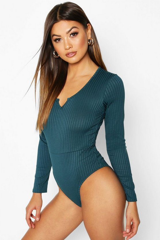 Womens Teal Notch Front Neck Jumbo Rib Long Sleeved Body