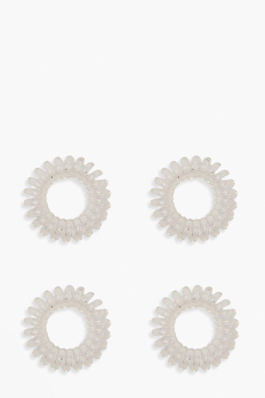 Image of Elastici per capelli a spirale in plastica (Set di 4), Bianco