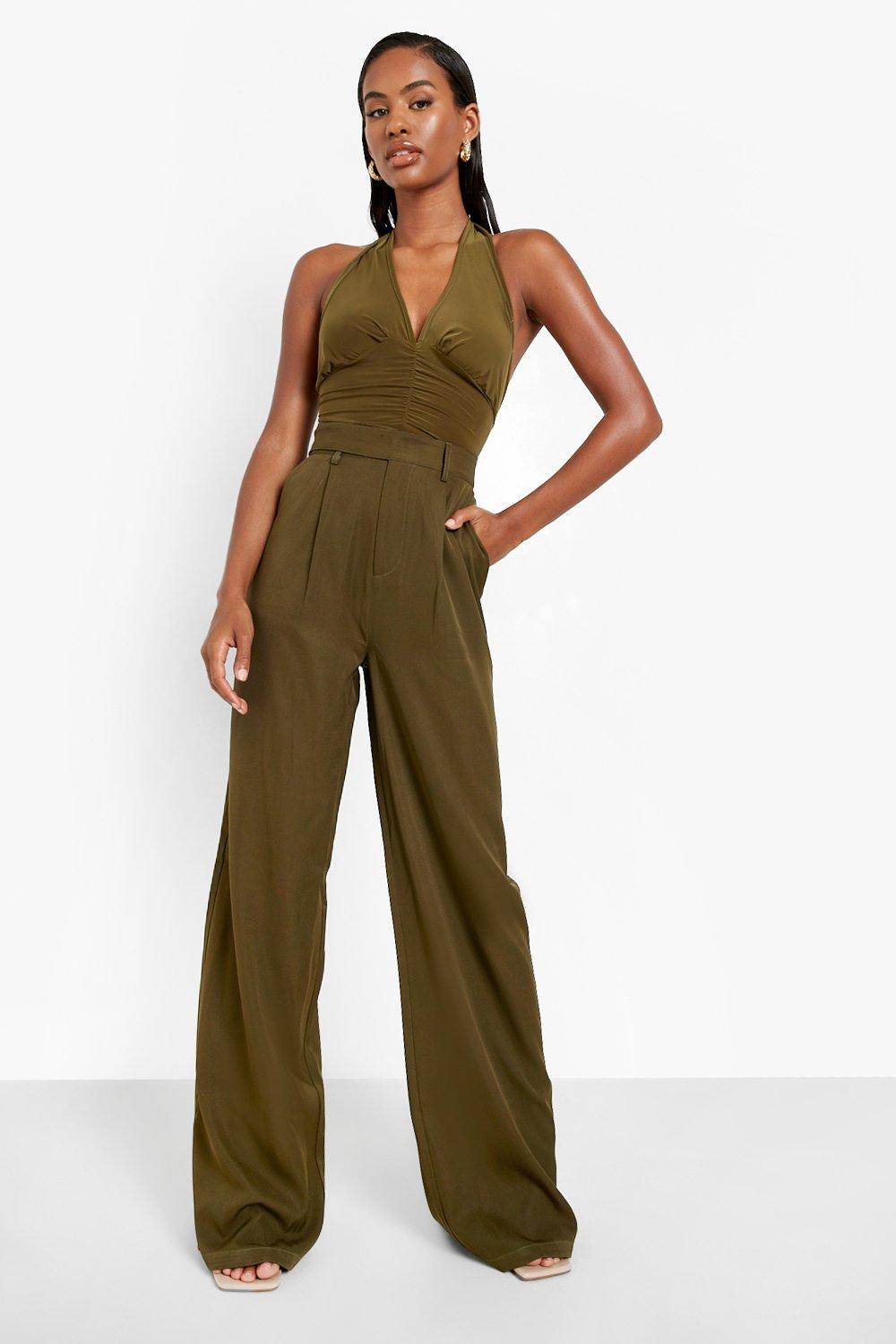 60s Pants, Jeans, Hippie, Flares, Jumpsuits Womens Straight Leg Slouchy Woven Trouser - Green - 12 $22.00 AT vintagedancer.com
