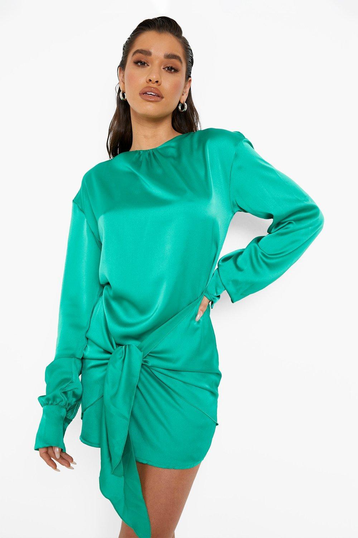 1980s Clothing, Fashion | 80s Style Clothes Womens Satin Blouson Tie Detail Mini Dress - Green - 10 $50.00 AT vintagedancer.com