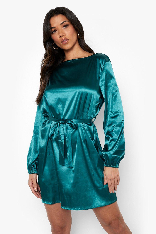 70s Sequin Dresses, Disco Dresses Womens Satin Plaited Belt Skater Dress - Green - 14 $56.00 AT vintagedancer.com