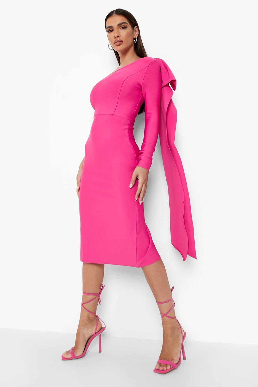 80s Dresses | Casual to Party Dresses Womens Bandage One Shoulder Cape Midi Dress - Pink - 12 $110.00 AT vintagedancer.com