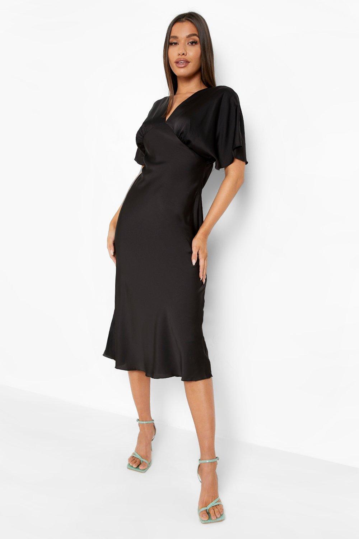 70s Sequin Dresses, Disco Dresses Womens Satin Flared Sleeve Plunge Midaxi Dress - Black - 14 $60.00 AT vintagedancer.com