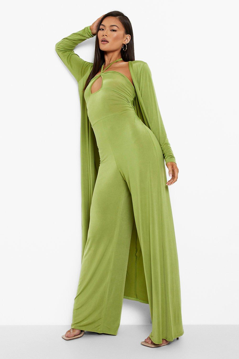 70s Clothes | Hippie Clothes & Outfits Womens Halter Ruched Waist Jumpsuit  Duster Set - Green - 12 $70.00 AT vintagedancer.com