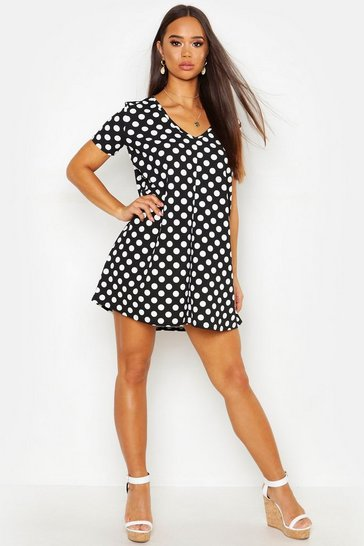 Womens Black Spot V Neck Swing Dress