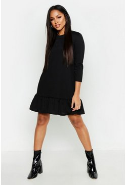 Black Jersey Ruffle Hem Shift Dress