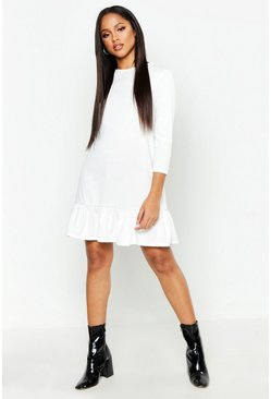 Womens Ivory Jersey Ruffle Hem Shift Dress
