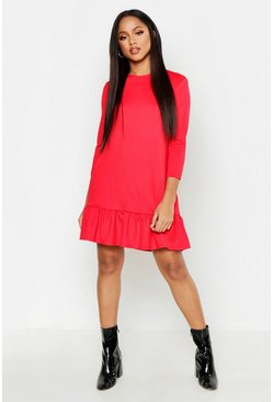 Womens Red Jersey Ruffle Hem Shift Dress