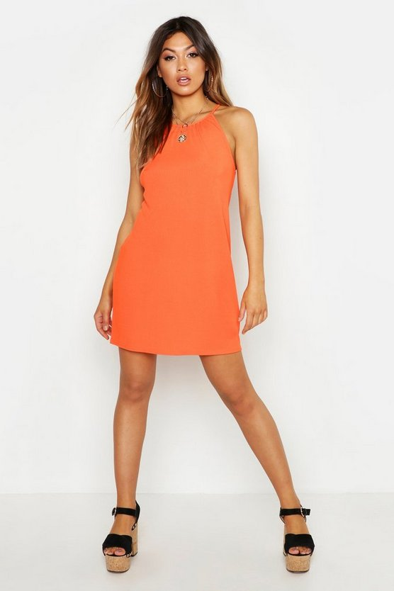 Orange Rib Strappy Shift Dress