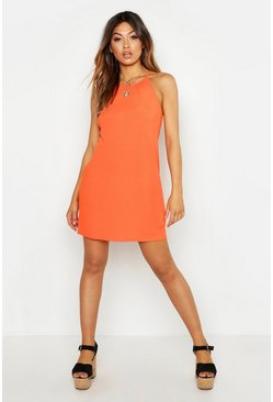 Womens Orange Rib Strappy Shift Dress