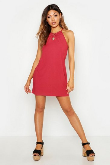 Womens Rust Rib Strappy Shift Dress