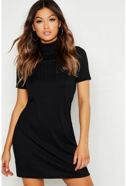 Womens Black Textured High Neck Shift Dress
