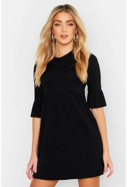 Womens Black Rib Frill Sleeve Smock Dress