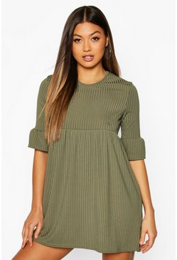 Khaki Rib Frill Sleeve Smock Dress
