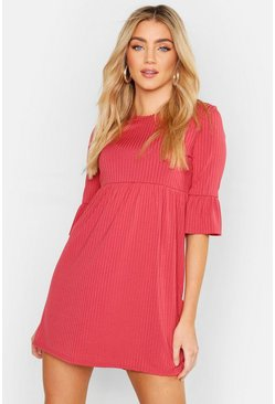 Womens Rose Rib Frill Sleeve Smock Dress
