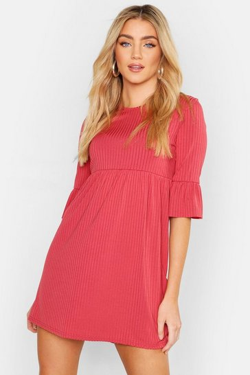 Rose Rib Frill Sleeve Smock Dress