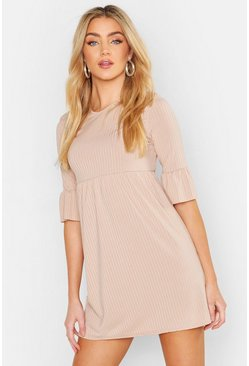 Stone Rib Frill Sleeve Smock Dress