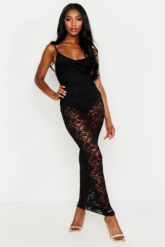 Womens Black Strappy Lace Maxi Dress