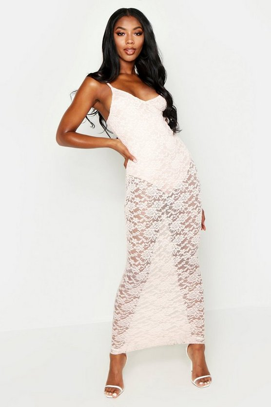 Womens Blush Strappy Lace Maxi Dress