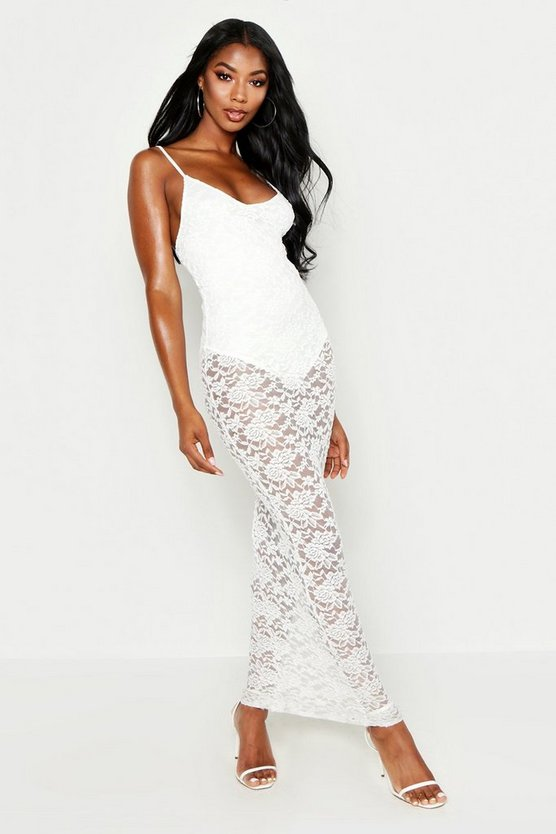 Womens Ivory Strappy Lace Maxi Dress