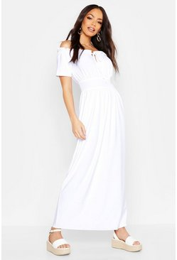 Womens White Bardot Sheered Waist Tie Maxi Dress