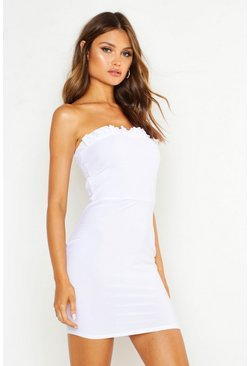 Ivory Shirred Bandeau Frill Dress