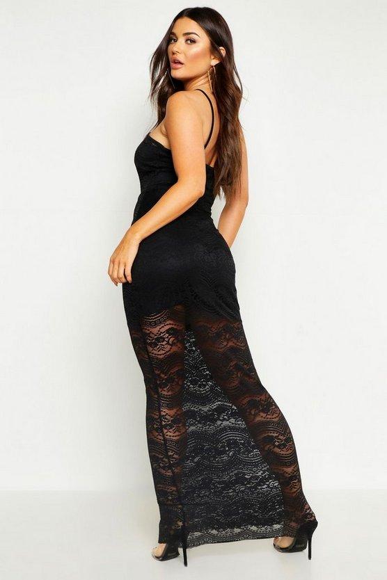 Lace High Neck Off Shoulder Maxi Dress