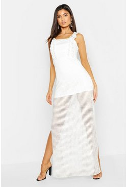 White Jersey Crochet High Split Maxi Dress