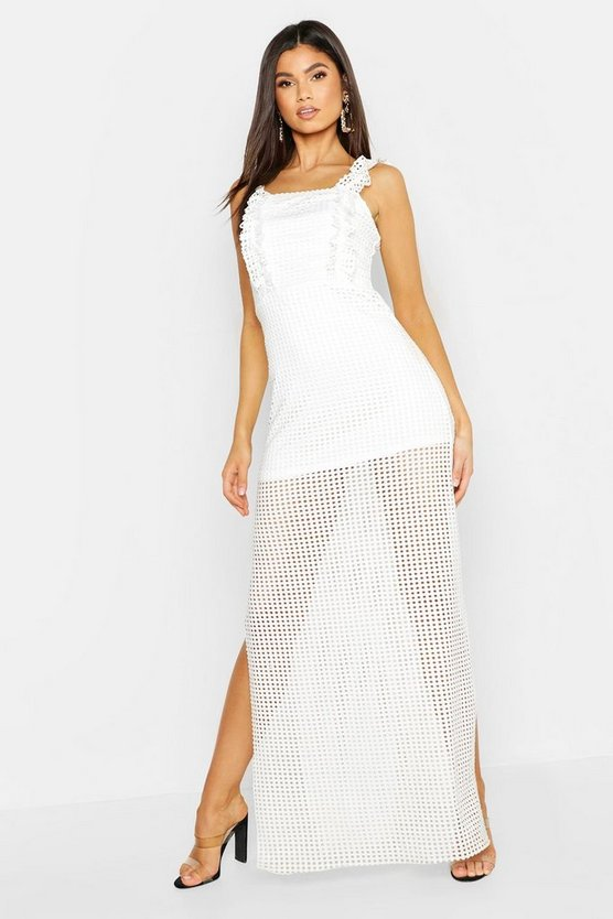 Womens White Jersey Crochet High Split Maxi Dress