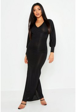 Black Rib Wrap Balloon Sleeve Maxi Dress