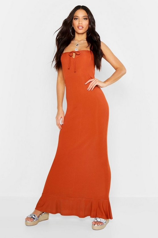 Womens Rust Rib Tie Front Frill Hem Maxi Dress