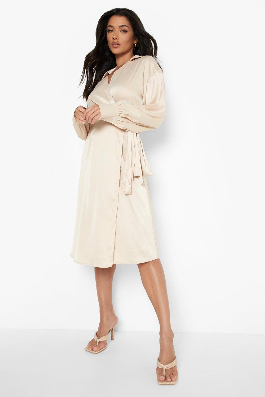 70s Sequin Dresses, Disco Dresses Womens Satin Collared Wrap Midi Dress - Beige - 14 $80.00 AT vintagedancer.com