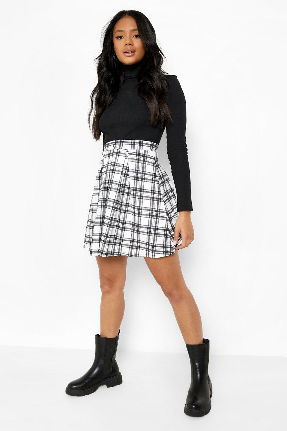 90s Clothing Outfits You Can Buy Now Womens Flannel Print Pleated Tennis Mini Skirt - White - 12 $9.60 AT vintagedancer.com