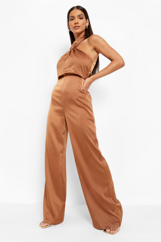 70s Jumpsuit   Disco Jumpsuits, Sequin Rompers Womens Satin Halter Neck Twist Wide Leg Jumpsuit - Bronze - 12 $80.00 AT vintagedancer.com