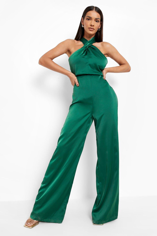 70s Jumpsuit   Disco Jumpsuits, Sequin Rompers Womens Satin Halter Neck Twist Wide Leg Jumpsuit - Green - 12 $80.00 AT vintagedancer.com
